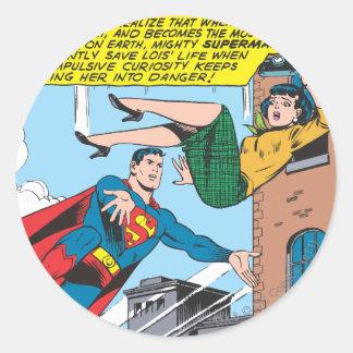 Superman Comic Panel - Saving Lois Round Stickers