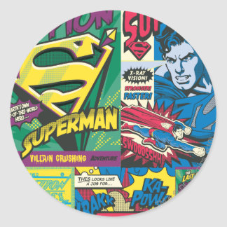 Superman Comic Panels Round Stickers