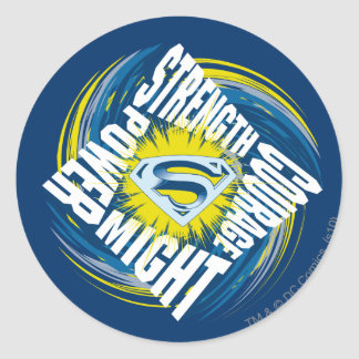 Superman Courage Strength Might Power Round Sticker