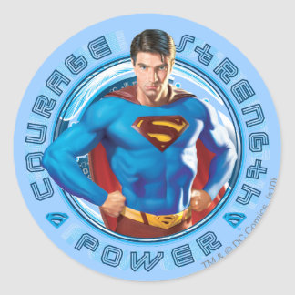 Superman Courage Strength Power Round Sticker
