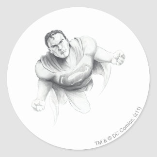 Superman Drawing Round Sticker
