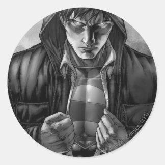Superman Earth Cover - Black and White Round Sticker