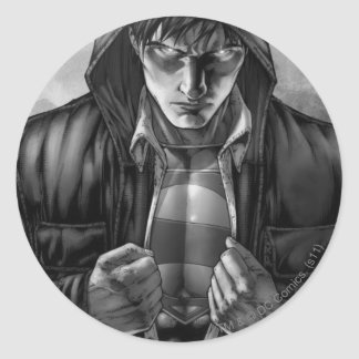 Superman Earth Cover - Black and White Round Sticker