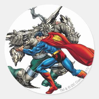 Superman Fights Enemy Round Sticker