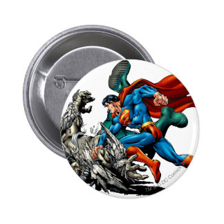 Superman Fights Monster 6 Cm Round Badge