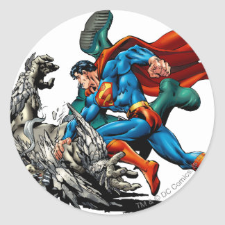 Superman Fights Monster Classic Round Sticker