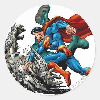 Superman Fights Monster Round Sticker