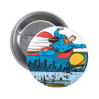 Superman Flies Across Town 6 Cm Round Badge