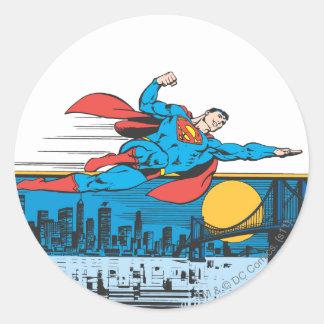 Superman Flies Across Town Round Sticker