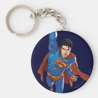 Superman Flying Forward Basic Round Button Key Ring