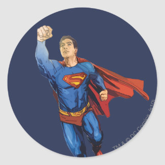Superman Flying Left Round Sticker
