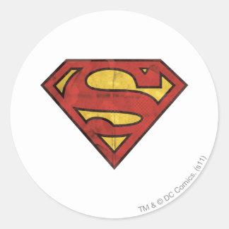 Superman Grunge Logo Round Sticker