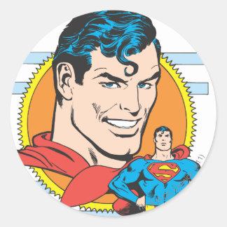 Superman Head Shot Round Sticker
