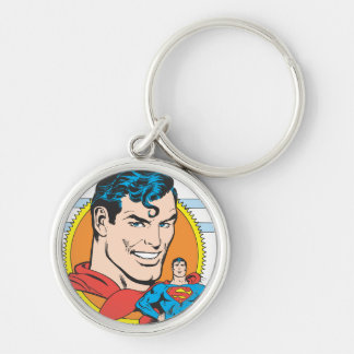 Superman Head Shot Silver-Colored Round Key Ring