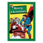 Superman Helping Santa Claus Down The Chimney Card