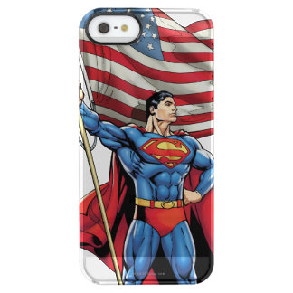 Superman Holding US Flag Clear iPhone SE/5/5s Case