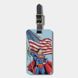 Superman Holding US Flag Luggage Tag