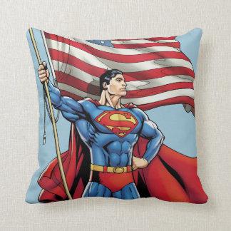 Superman Holding US Flag Throw Pillow