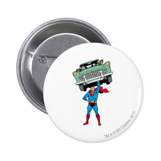 Superman holds a car 6 cm round badge