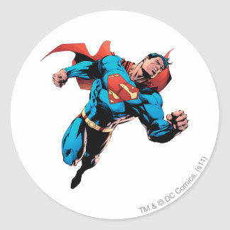 Superman in suit round sticker