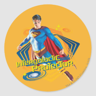Superman Intergalactic Protector Round Sticker