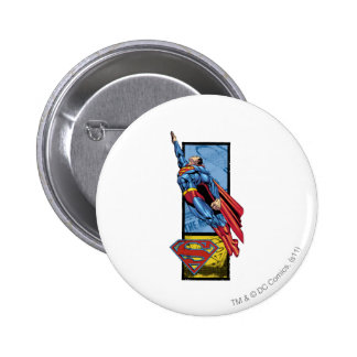 Superman jumps up with logo 6 cm round badge