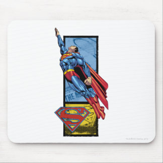 Superman jumps up with logo mousepads