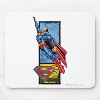 Superman jumps up with logo mousepad
