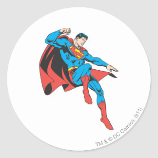 Superman Lands Lightly Classic Round Sticker