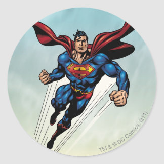 Superman leaps upward classic round sticker