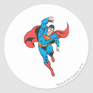 Superman Left Fist Raised Round Sticker