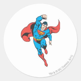 Superman Left Fist Raised Round Sticker