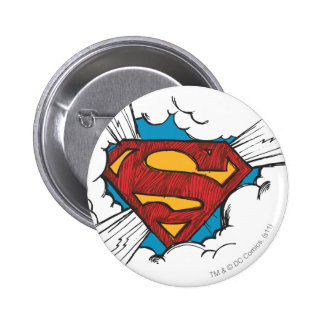 Superman logo in clouds 6 cm round badge