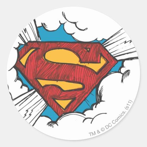 Superman logo in clouds round sticker