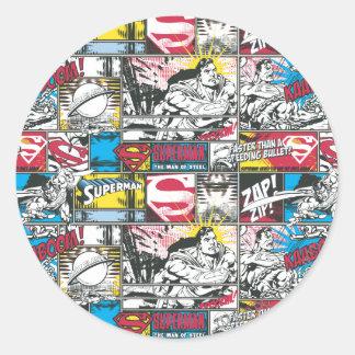 Superman Logo Pattern 2 Round Sticker