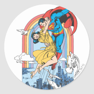 Superman & Lois in Yellow Round Sticker