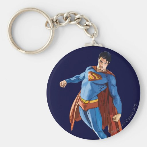 Superman Looking Down Basic Round Button Key Ring
