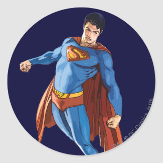 Superman Looking Down Round Sticker