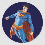 Superman Looking Down Round Stickers
