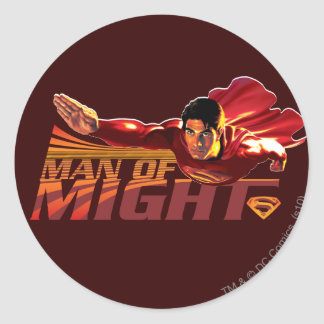 Superman Man of Might Round Stickers