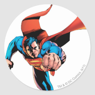 Superman moving forward round sticker