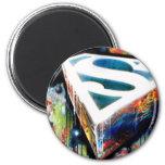 Superman Neon Graffiti 6 Cm Round Magnet