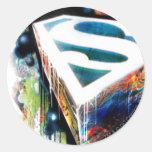 Superman Neon Graffiti Round Stickers