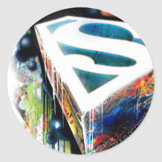 Superman Neon Graffiti Round Stickers