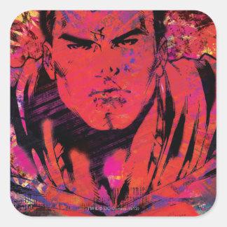 Superman Red Grunge Square Sticker