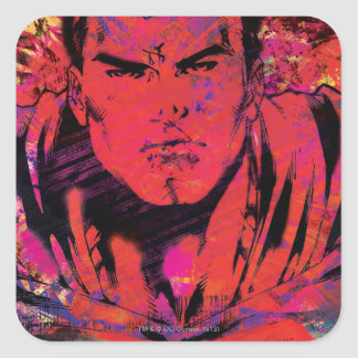 Superman Red Grunge Square Stickers