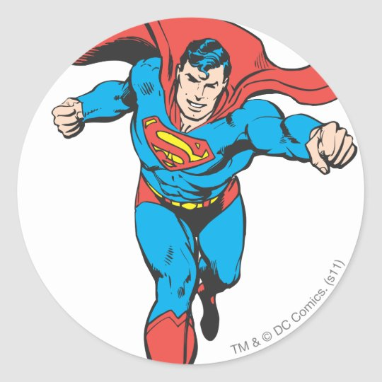 Superman runs forward 2 classic round sticker