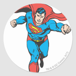 Superman Runs Forward 2 Round Sticker