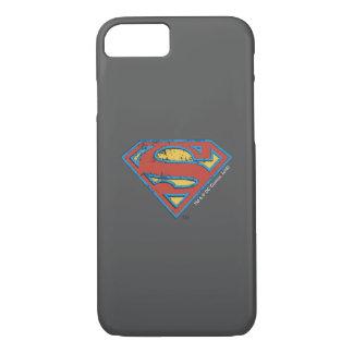 Superman S-Shield | Blue Outline Grunge Logo iPhone 7 Case