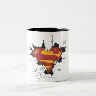 Superman S-Shield | Broken Metal Logo Two-Tone Coffee Mug
